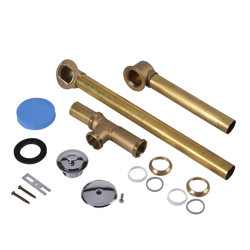Dearborn® Full Kit, Brass Tubular - 17 Ga. Uni-Lift Stopper w/ Chrome Finish Trim For Whirlpool Tubs
