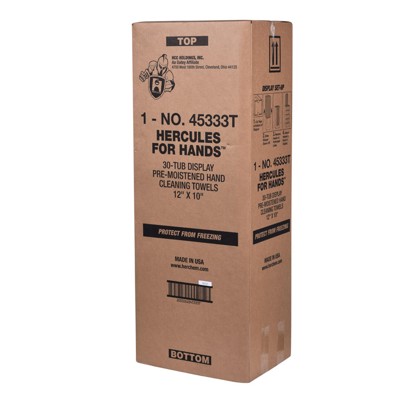 032628453333_P_001.jpg - Hercules® For Hands™ - Pre-Moistened Towels - Thin Tub -25 Per Tub - 8 in. x 10 in.