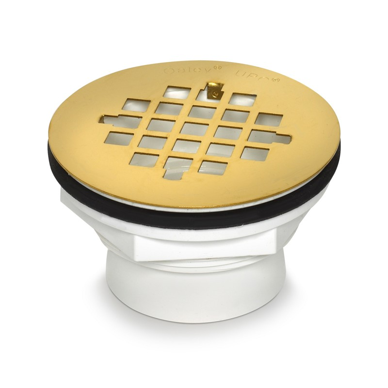 038753420783_H_001.jpg - Oatey® 2 in. 101 PS PVC Solvent Weld Shower Drain with Ultrashine® Polished Brass Strainer
