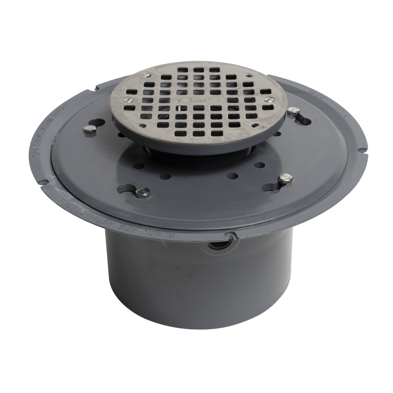 """038753721163_H_001.jpg - Oatey® 6"""" Stainless Steel Strainer Round, PVC Flange Base, 6"""" Pipe"""