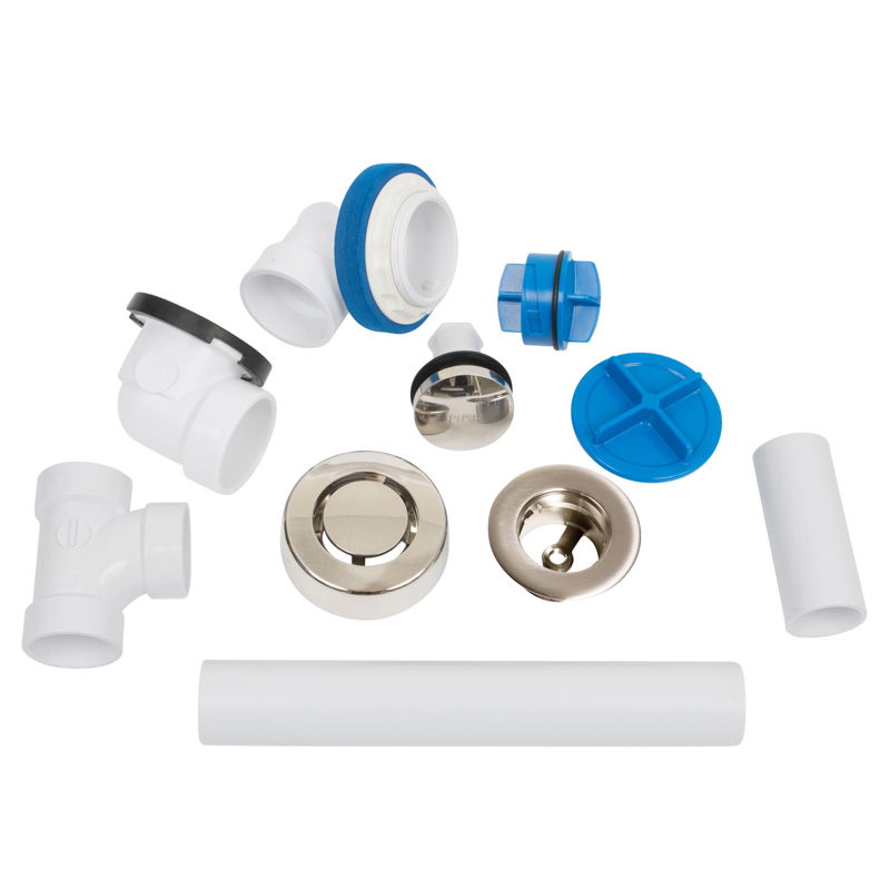 041193462268_H_001.jpg - Dearborn® True Blue® PVC Full Kit, Touch Toe Stopper, with Test Kit, Brushed Nickel, Finished Drain Spud