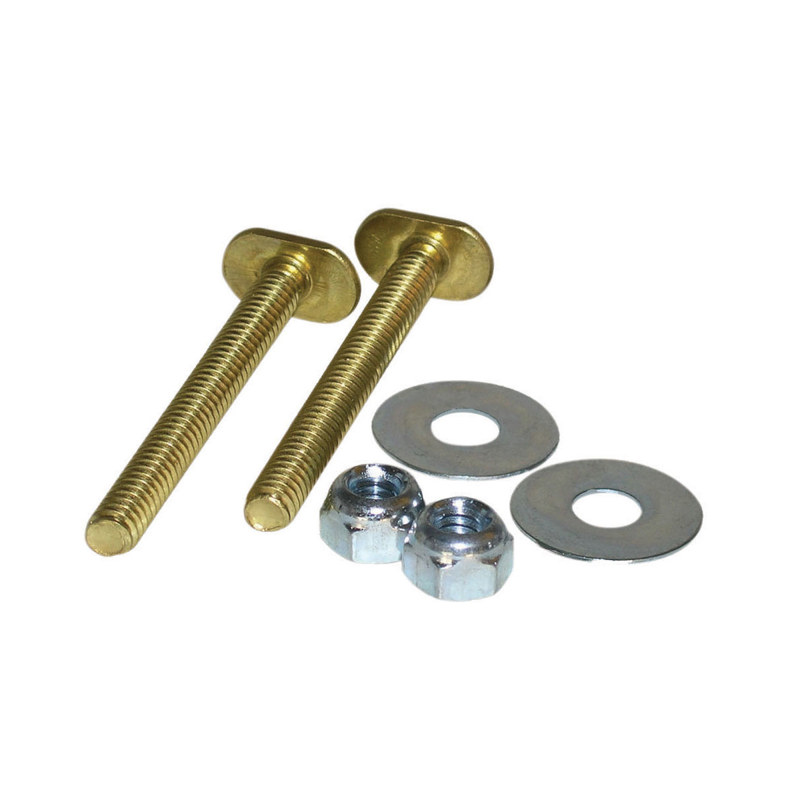 078864560558_H_001.jpg - Harvey™ 1/4 in. x 2 1/4 in. Plated Toilet Flange Set with Double Nuts and Washers