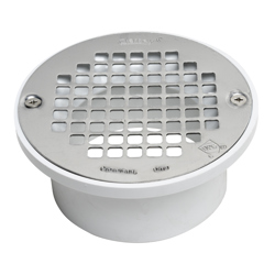 038753435831_H_001.jpg - Oatey® 3 in. or 4 in. PVC General Purpose Drain with 5 in. Stainless Steel Screw-Tite Strainer