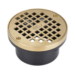038753435985_H_001.jpg - Oatey® 3 in. or 4 in. ABS General Purpose Drain with  5 in. Brass Grate and Metal Ring