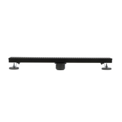 038753905730-01-01.jpg - Designline™  24 in. Stainless Steel Linear Shower Drain with Matte Black Square Grate